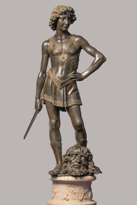 Andrea del Verrocchio,<em> David with the Head of Goliath</em>, c. 1465. Bronze with partial gilding, overall: 47 1/4 inches. Museo Nazionale del Bargello, Florence.