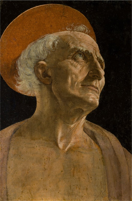 Andrea del Verrocchio, <em>Saint Jerome</em>, c. 1465. Tempera on paper glued to panel, 15 15/16 x 10 1/4 inches. Gallerie degli Uffizi, Palazzo Piti, Florence.