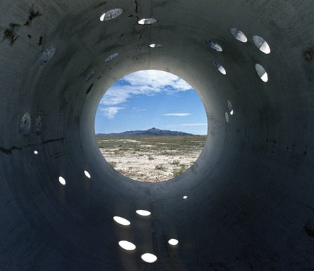 Nancy Holt, <em>Sun Tunnels</em>, 1973-76. Great Basin Desert, Utah. Dia Art Foundation with support from Holt/Smithson Foundation. © Holt/Smithson Foundation and Dia Art Foundation/Licensed by VAGA at Artists Rights Society (ARS), NY. Photo: Nancy Holt, courtesy Holt/Smithson Foundation.