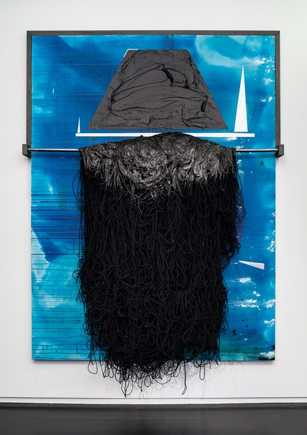 Torkwase Dyson, <em>Pilot</em>, 2019. Acrylic, graphite, string, wood, ink on canvas, 96 x 72 inches. Photo: Nicholas Knight. Courtesy Columbia GSAPP.