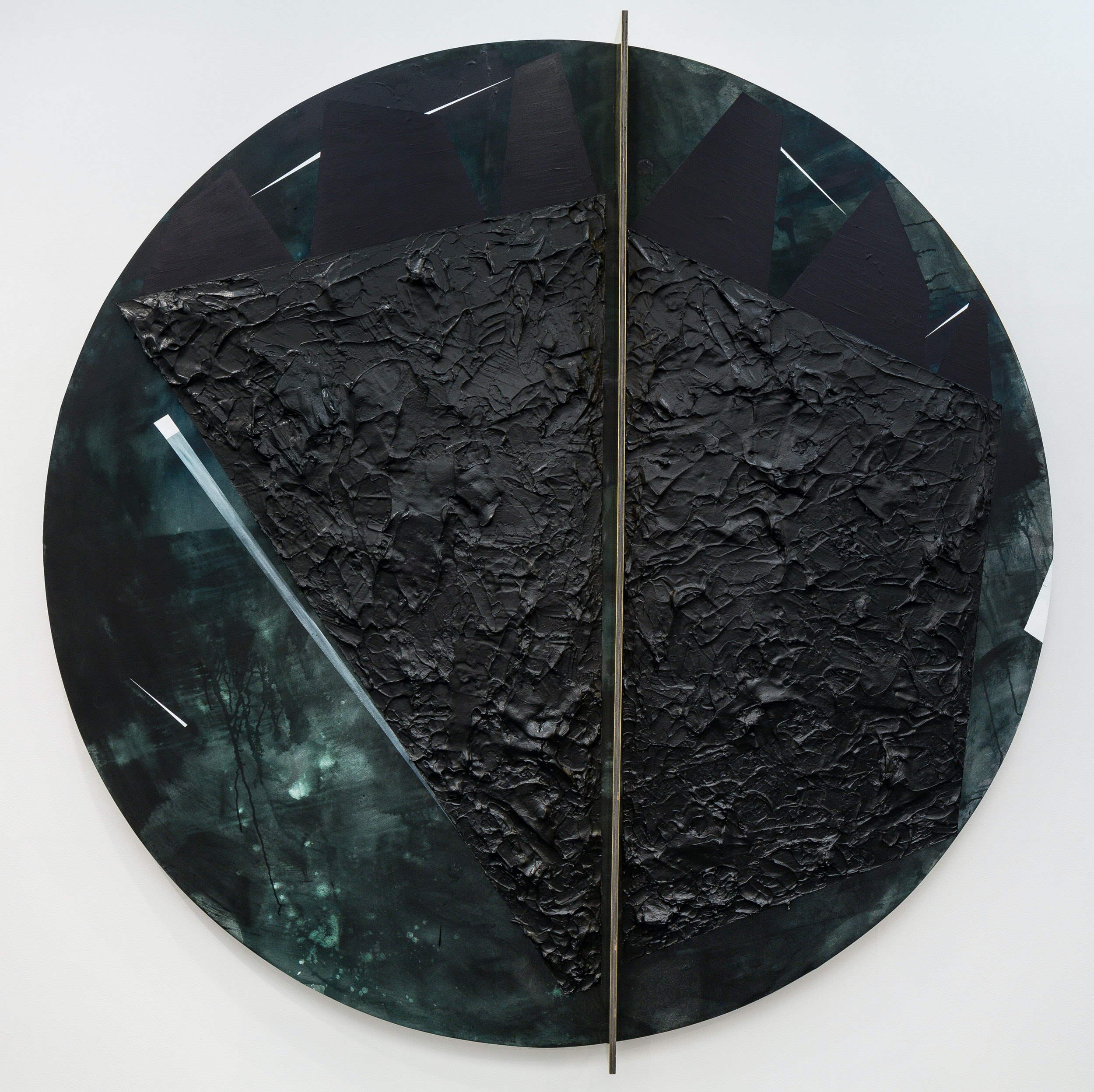 Torkwase Dyson, <em>Plantationocene</em>, 2019. Acrylic, graphite, brass, wood, ink on canvas, 98 inches diameter. Photo: Nicholas Knight. Courtesy Columbia GSAPP.