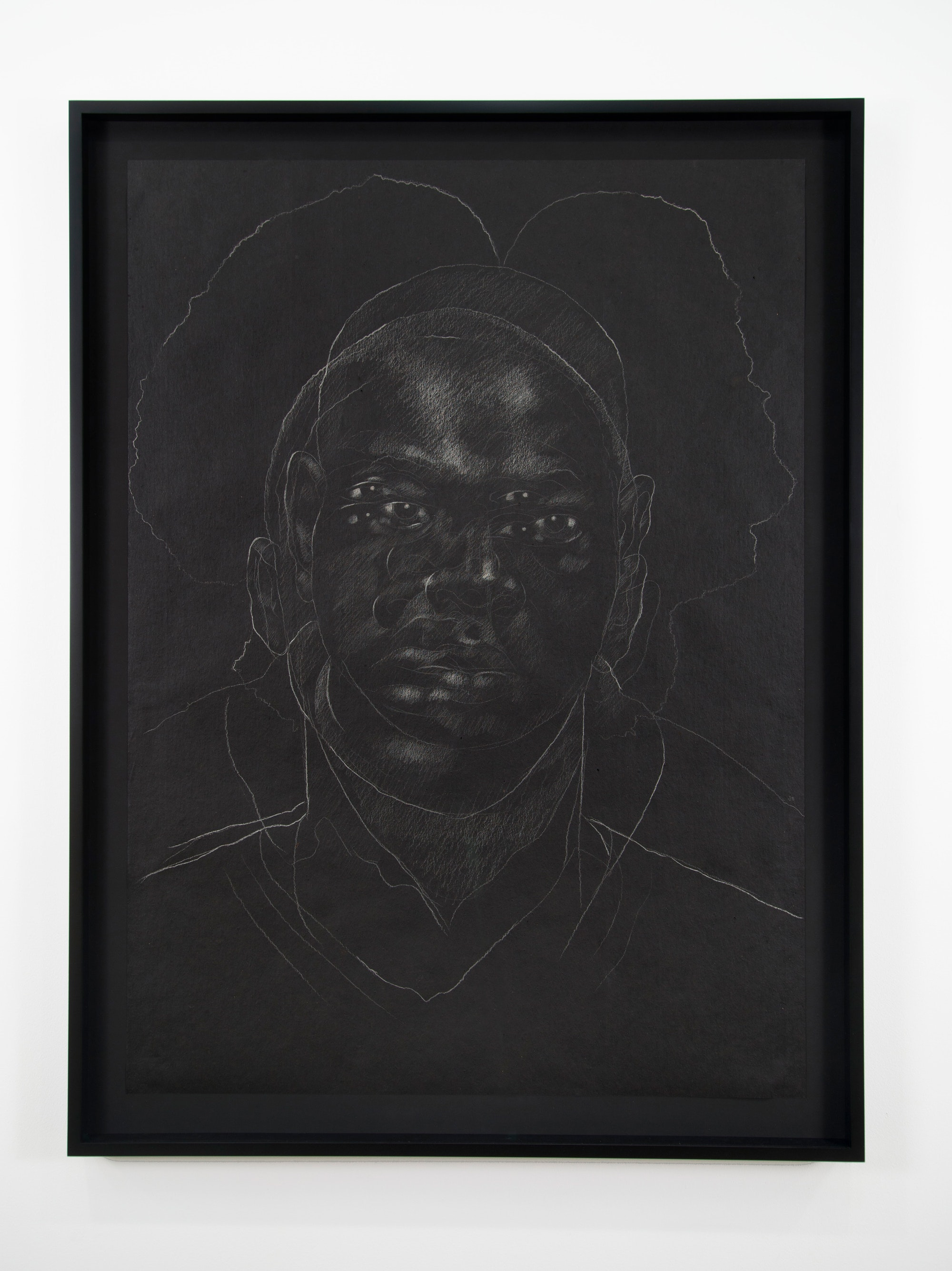 Titus Kaphar, <em>The Jerome Project (Asphalt and Chalk) II</em>, 2014, Chalk on asphalt paper, 49 x 35 1/2 inches (drawing), 54 3/8 x 40 7/8 x 2 1/8 inches (framed), Image courtesy the artist.