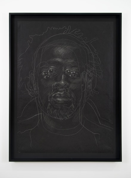 Titus Kaphar, <em>The Jerome Project (Asphalt and Chalk) V</em>, 2014, Chalk on asphaltpaper, 49 x 35 1/2 inches (drawing), 54 3/8 x 40 7/8 x 2 1/8 inches (framed). MoMApermanent collection. Image courtesy of MoMA and the Artist