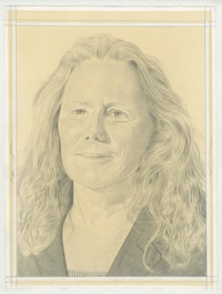 Portrait of Carol Szymanski, pencil on paper by Phong Bui.