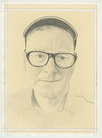 Portrait of Donald Moffett, pencil on paper by Phong Bui.