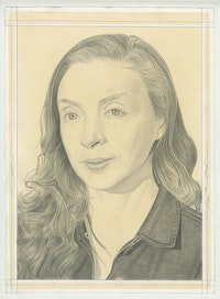 Portrait of Rachel Feinstein, pencil on paper by Phong Bui.