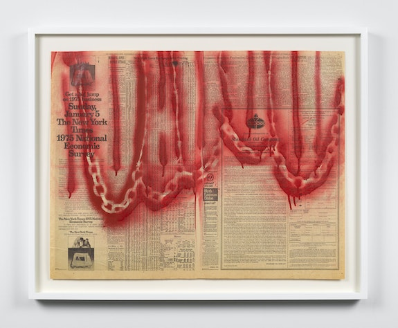 "Melvin Edwards, <em>""Lines"" for John Coltrane and other Creative People</em>, 1974. Spray paint on newspaper in 5 parts, 22 1/2 x 29 1/8 inches. Courtesy Alexander Gray Associates, New York; Stephen Friedman Gallery, London © Melvin Edwards/Artists Rights Society (ARS), New York."