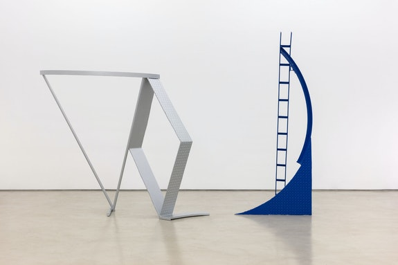 Melvin Edwards, <em>Tan Ton Dyminns</em>, 1974. Painted welded steel in 2 parts, part 1: 84 1/2 x 36 x 37 inches, part 2: 66 3/8 x 78 1/2 x 34 inches. Courtesy Alexander Gray Associates, New York; Stephen Friedman Gallery, London. © Melvin Edwards/Artists Rights Society (ARS), New York.