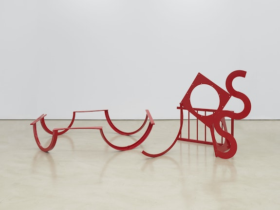 Melvin Edwards, <em>Felton</em>, 1974. Painted welded steel in 2 partsPart 1: 23 x 95 x 80 inches, Part 2: 59 3/4 x 68 x 64 1/2 inches. Courtesy Alexander Gray Associates, New York; Stephen Friedman Gallery, London © Melvin Edwards/Artists Rights Society (ARS), New York.