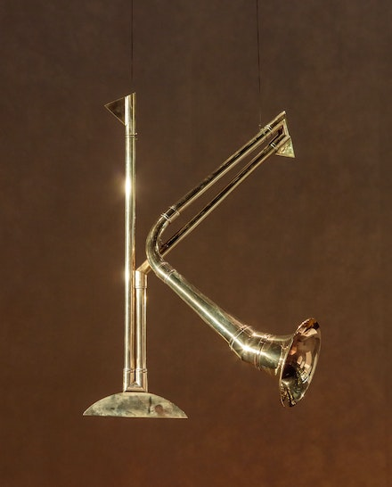 Carol Szymanski, <em>Phonemophone K</em>, 2011. Brass. Courtesy the artist.