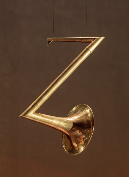 Carol Szymanski, <em>Phonemophone Z</em>, 2011. Brass. Courtesy the artist.