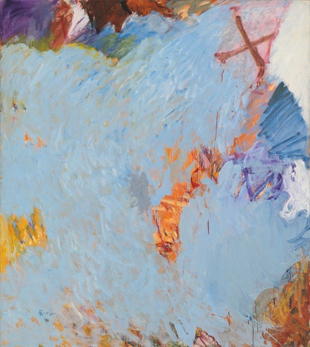Pat Passlof, <em>Stove</em>, 1959. Oil on linen, 77 x 69 inches. Courtesy the Milton Resnick and Pat Passlof Foundation.