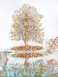 Michael Eade, <em>Tree of Life Reflected</em>, 2018. Egg tempera, raised 22k gold leaf, raised aluminum leaf, oil on canvas, 48 x 36 inches. © Michael Eade, courtesy Fou Gallery.