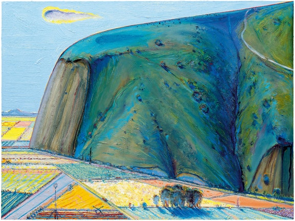 Wayne Thiebaud, <em>Around Yountvillle</em>, 2008—11/2018. Oil on canvas, 36 x 48 inches. © Wayne Thiebaud / Licensed by VAGA at ARS, New York.