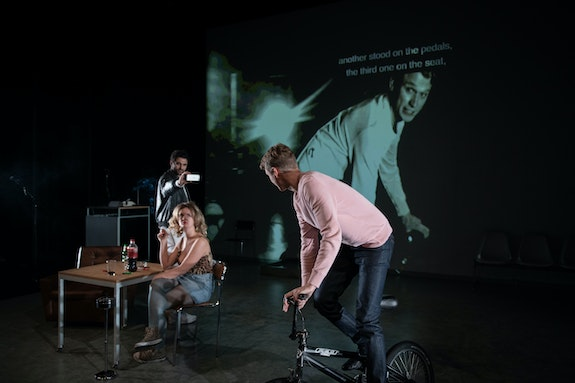 Left to right: Renato Schuch, Alina Stiegler, and Laurenz Laufenberg in <em>The History of Violence</em> at St. Ann's Warehouse. Photo:Teddy Wolff.