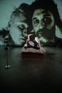 Left to right: Laurenz Laufenberg and Renato Schuch in <em>The History of Violence</em> at St. Ann's Warehouse. Photo:Teddy Wolff.