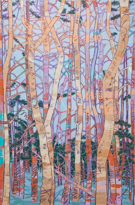 Hope Gangloff, <em>Birch Stand Southside of Cheney Cabin</em>, 2019. Acrylic and collage on canvas, 82 x 54. Photo: Donald Stahl, NYC. Courtesy Susan Inglett Gallery, NY.