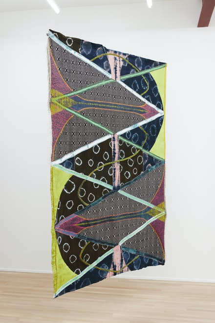 Julia Bland, <i>Cut By Rivers</i>, 2019.Hand woven textile, hand dyed linen and silk, canvas, wool and linen threads, oil paint, 106 x 76 in.