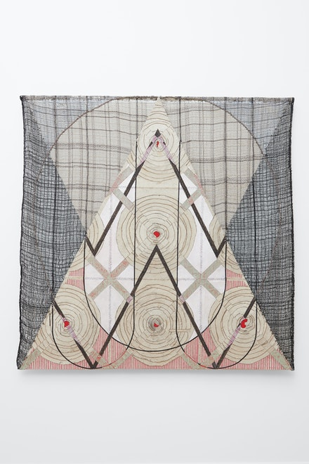 Julia Bland, <i>Brave Sister</i>, 2019. Burnt canvas, hand woven textile, linen and wool threads,ink, oil paint, 60.5 x 60.5 in.