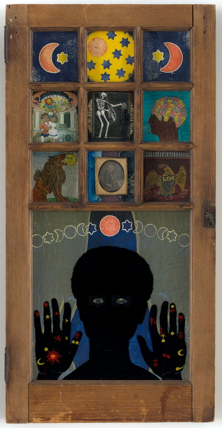 Betye Saar, <em>Black Girl's Window</em>, 1969. Wooden window frame with paint, cut-and-pasted printed and painted papers, daguerreotype, lenticular print, and plastic figurine, 35 3/4 x 18 x 1 1/2 inches. © 2019 Betye Saar. Courtesy the artist and Roberts Projects, Los Angeles. Digital Image © 2018 The Museum of Modern Art, New York. Photo: Rob Gerhardt.</em>
