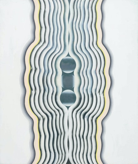 Kim Tschang-Yeul, <em>Composition</em>, 1969. Acrylic and cellulose lacquer on canvas, 63.78 x 53.54 inches. Courtesy Tina Kim, New York.