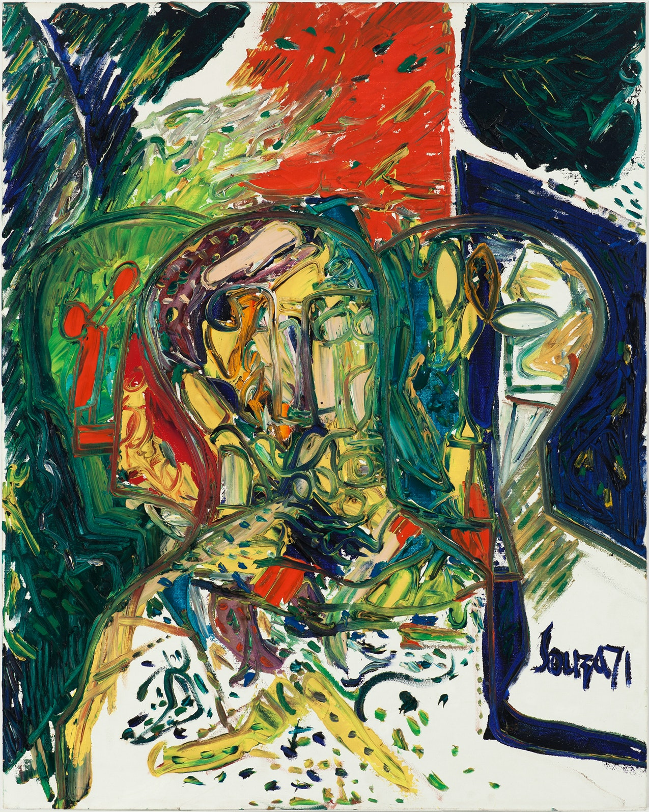 Francis Newton Souza, <em>Trimurti</em>, 1971. Oil on canvasboard, 30 x 24 inches. Grey Art Gallery, New York University Art Collection.