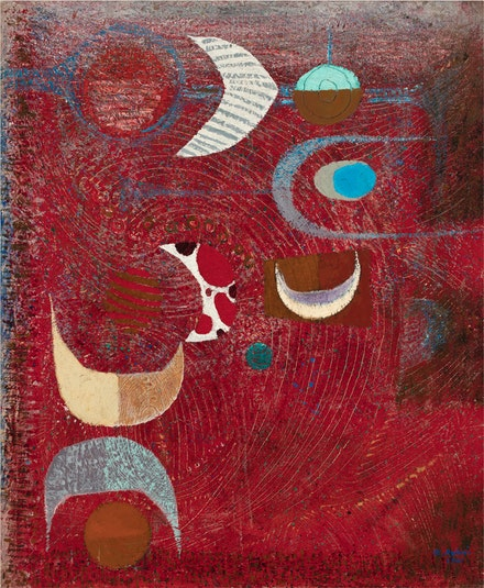 Bedri Rahmi Eyüboğlu, <em>Full Moon</em>, 1961. Oil and glue on canvas, 50 7/8 x 42 inches. Grey Art Gallery, New York University Art Collection.