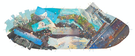 Howardena Pindell, <em>Autobiography: Oval Memory #1</em>, 1980–1981. Mixed media collage on paper, 13 x 32 x 3 inches. Courtesy Garth Greenan, New York.