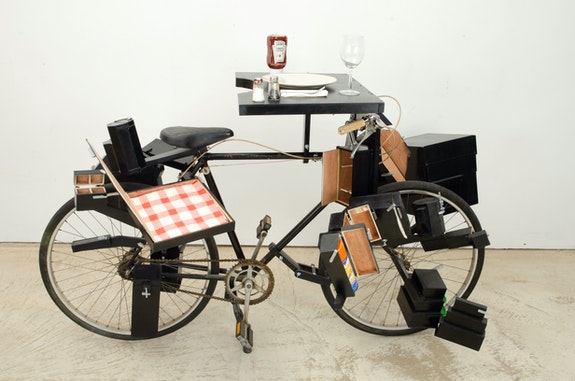 Allan Wexler, Bicycle For Picnicking, 2019. Mixed media, 70 x 50 x 41 inches. Courtesy the artist.