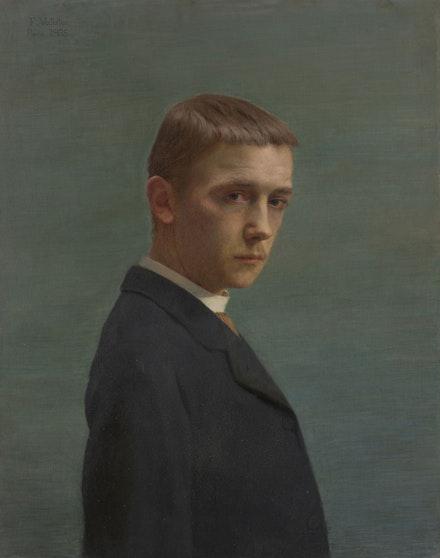 Félix Vallotton, Self-Portrait at the Age of 20, 1885. Oil on canvas, 27 9/16 x 21 3/4 inches. Musée cantonal des Beaux-Arts de Lausanne. Acquisition, 1896. © Musée cantonal des Beaux-Arts de Lausanne.