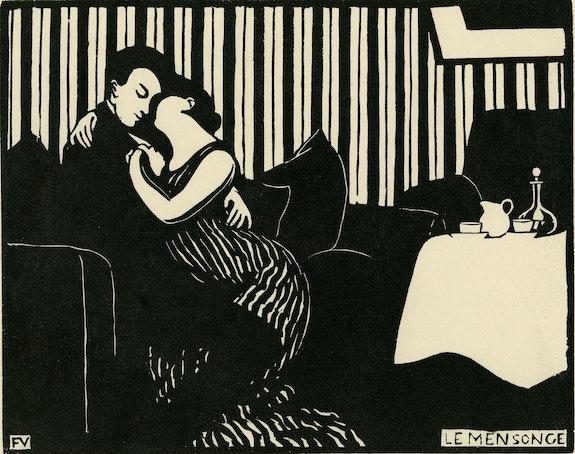 Félix Vallotton, The Lie (Intimités: I), 1897. Woodcut, 9 7/8 x 12–5/8 inches. Cabinet d'arts graphiques des Musées d'art et d'histoire, Genève, Gift of Lucien Archinard. © Musées d'art et d'histoire, Ville de Genève.