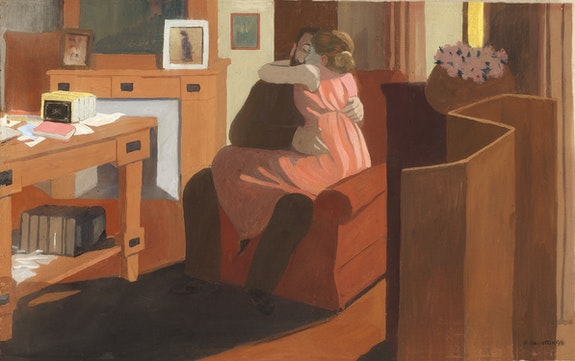 Félix Vallotton, Five O'Clock, 1898. Distemper on cardboard, 14 x 22 7/8 inches. Private collection. Photo © Fondation Félix Vallotton, Lausanne.