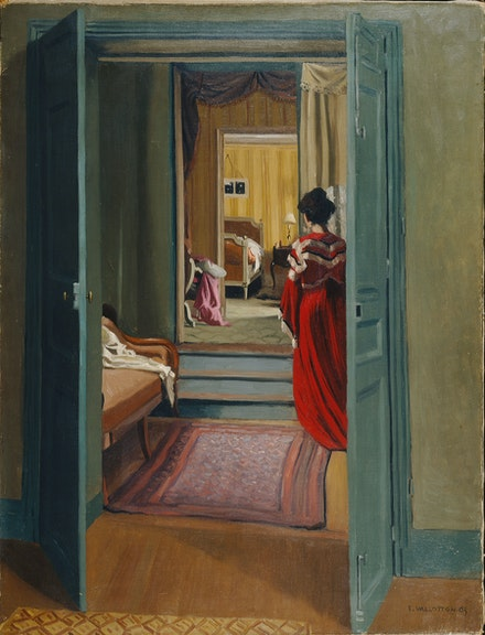 Félix Vallotton, Interior with Woman in Red, 1903. Oil on canvas, 36 3/8 x 27 3/4 inches. Kunsthaus Zürich. Bequest of Hans Naef, 2001. © Kunsthaus Zürich.