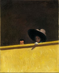 Félix Vallotton, The Theatre Box, 1909. Oil on canvas, 18 1/ 8 x 14 7/8 inches. Private collection. Photo © Fondation Félix Vallotton, Lausanne.