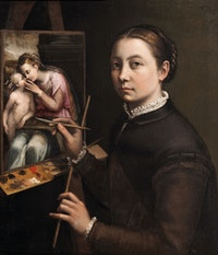 Sofonisba Anguissola, Self-Portrait at the Easel, c.1556−57. Oil on canvas. Poland, The Castle Museum in Łańcut.