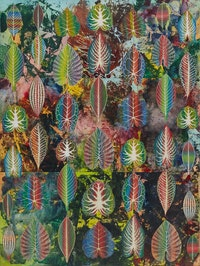 Philip Taaffe, <em>Interzonal Leaves</em>, 2018. Mixed media on canvas, 111 11/16 x 83 11/16 inches. © Philip Taaffe; Courtesy of the artist and Luhring Augustine, New York.
