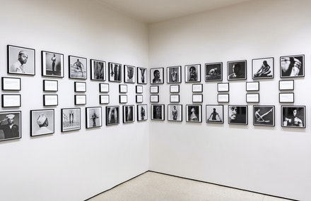 Glenn Ligon, <em>Notes on the Margin of the Black Book</em> (detail), 1991–93. 91 offset prints and 78 text panels. © Glenn Ligon and all Mapplethorpe images © Robert Mapplethorpe Foundation. Used with permission. Photo: David Heald, © Solomon R. Guggenheim Foundation