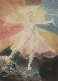 William Blake, <em>Albion Rose</em>, c.1793. Color engraving, 9 7/8 x 8 1/4 inches. Courtesy the Huntington Art Collections.
