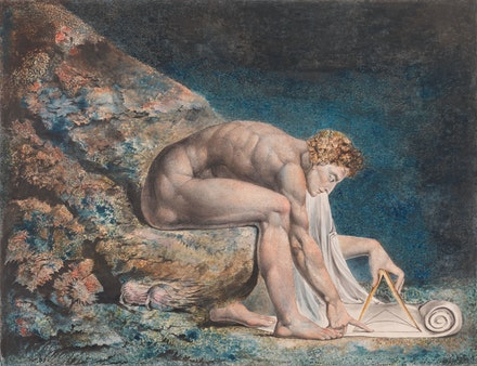 William Blake, <em>Newton</em>, 1795-c.1805. Color print, ink, and watercolor on paper, 18 1/8 x 23 5/8 inches. Collection of the Tate.
