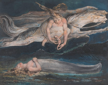 William Blake, <em>Pity</em>, c.1795. Color print, ink, and watercolor on paper, 16 3/4 x 21 1/4 inches. Collection of the Tate.