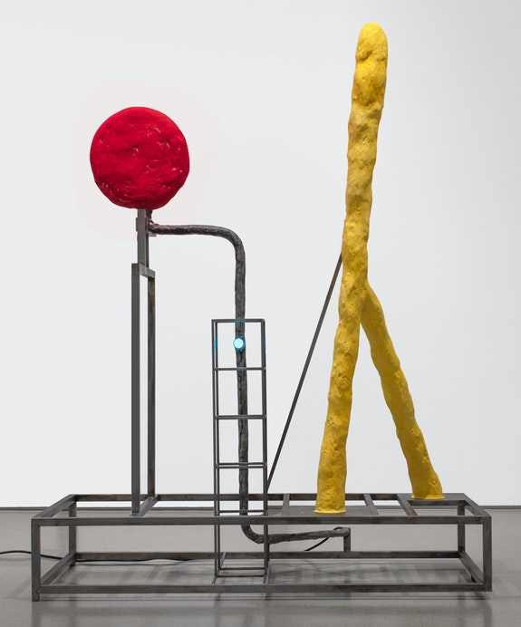 David Lynch, <em>Lamp</em>, 2019. Cold-rolled steel and mixed media, 54 3/4 x 43 x 23 inches. Courtesy the artist and Sperone Westwater, New York.