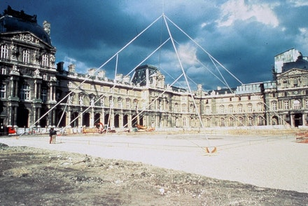 Simulation of I. M. Pei's pyramid in the Cour Napoleon, May, 1985. © Musée du Louvre (fonds EPGL). Photo: Patrice Astier.