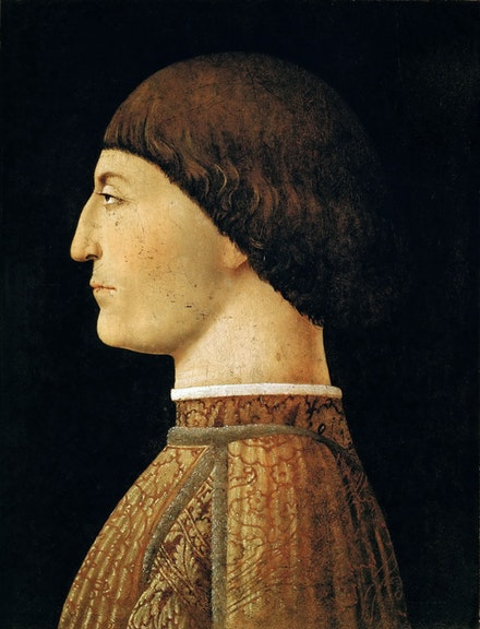 Piero Della Francesca, <em>Sigismondo Pandolfo Malatesta</em>, c.1450-51. Tempera on panel, 17 1/2 x 13 1/2 inches. Collection of the Louvre, Paris.