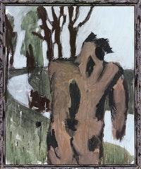 Markus Lüpertz, <em>Träumer</em>, 2014. Mixed media on canvas, 78 3/4 x 63 3/4 inches. Private Collection. © VG Bild-Kunst, Bonn 2019.