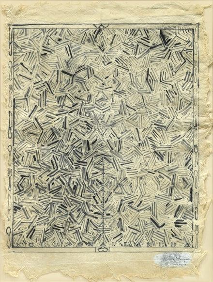 Jasper Johns, <em>Dancers on a Plane</em>, 1982. Graphite wash on India paper, 35 1/4 x 27 inches, irregular. Kravis Collection.