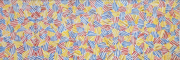 Jasper Johns, <em>Untitled</em>, 1979. Acrylic and collage on canvas, 30 x 90 inches. Collection of Jasper Johns.