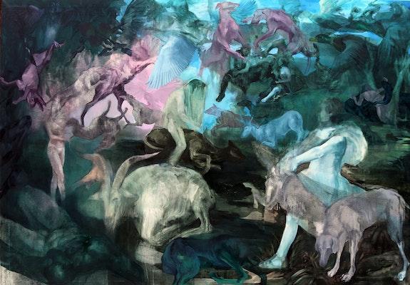 Barbara de Vivi, <em>Medea</em>, 2017. Oil on canvas, 55 x 78 3/4 inches. Courtesy the artist.