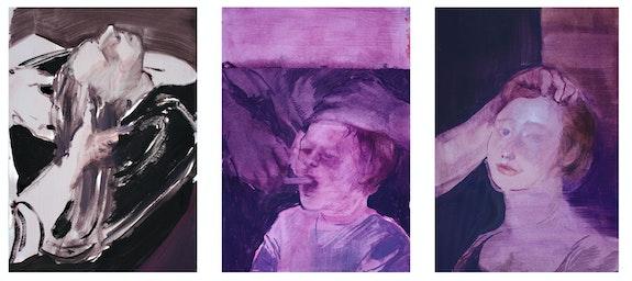 Barbara de Vivi, <em>Disegni dall'archivio</em>, 2018. Oil on paper, 11 3/4 x 7 7/8 inches each. Courtesy the artist.