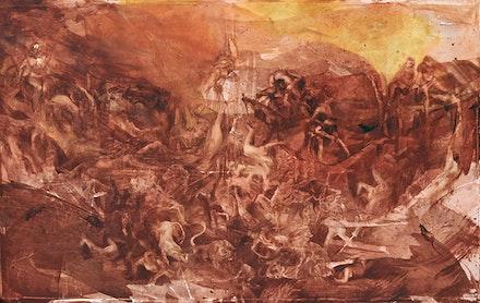 Barbara de Vivi,<em> Giudizio (dalla serie grandi battaglie)</em>, 2016. Oil on canvas, 136 5/8 x 84 1/4 inches. Courtesy the artist.