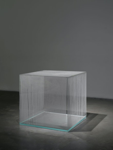 Hans Haacke, <em>Large Condensation Cube</em>, 1963-67. Clear acrylic, distilled water, and climate in area of display. 30 x 30 x 30 inches. Courtesy the artist and Paula Cooper Gallery, New York.